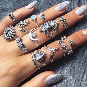 💕LAST ONE! 14 piece opal boho midi ring set💕
